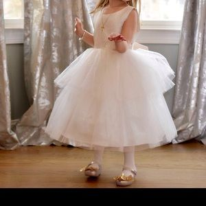 Gold and white tulle party dress